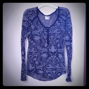 Sheer Black and Gray Free People Long Sleeve